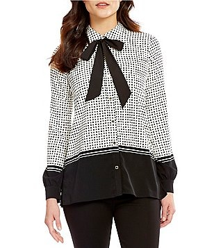 KARL LAGERFELD PARIS Collared Long Sleeve Pleat Front Tie Neck Blouse