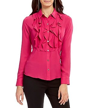 KARL LAGERFELD PARIS Wavy Ruffle Front Long Sleeve Blouse
