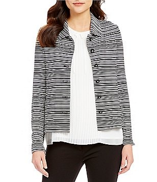 KARL LAGERFELD PARIS Point Collar Striped Button Front Jacket