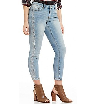 Code Bleu Petites Vickey Embroidered Ankle Skinny Jeans