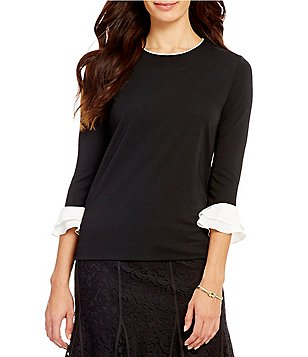 KARL LAGERFELD PARIS Crew Neck Trumpet Sleeve Blouse