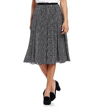 KARL LAGERFELD PARIS Dotted Pleated A-Line Skirt
