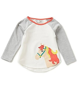 Adventure Wear by Copper Key Little Girls 2T-4T Raglan Horse-Appliqué Top