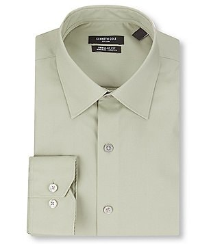 Kenneth Cole New York Non-Iron Regular Full-Fit Spread Collar Solid Dress Shirt