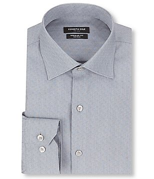 Kenneth Cole New York Non-Iron Regular Full-Fit Geometric Print Spread Collar Dress Shirt