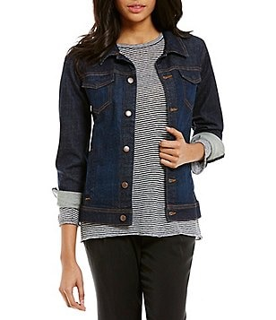 Eileen Fisher Classic Collar Shaped Denim Jacket