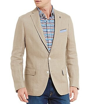 Cremieux David Notch Lapel Solid Linen Blazer