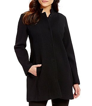Eileen Fisher Stand Collar Snap Front Long Jacket