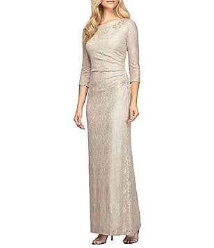 Alex Evenings Petite Beaded Neck Long Sleeve Metallic Lace Gown