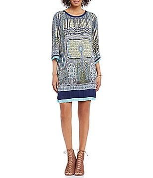 M.S.S.P. Printed Matte Charmeuse 3/4 Sleeve Shift Dress