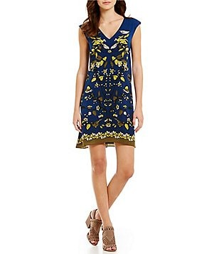 M.S.S.P. Bird Print V-Neck Cap Sleeve Charmeuse Shift Dress