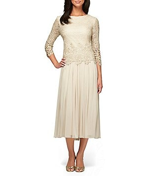 Alex Evenings Petite Round Neck 3/4 Sleeve Scalloped Lace-Bodice Dress