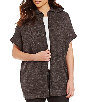Eileen Fisher Open Front Hooded Poncho