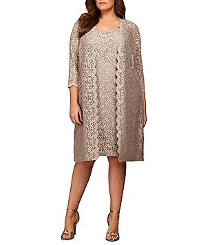 Alex Evenings Plus Scalloped Lace 2-Piece Jacket Dress