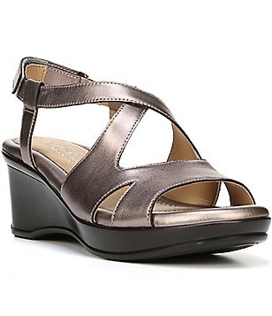 Naturalizer Villette Metallic Leather Slip-On Criss Cross Banded Dress Wedge