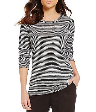 Eileen Fisher U-Neck Long Sleeve Solid Tunic