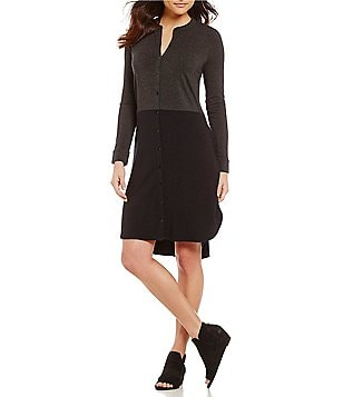 Eileen Fisher Mandarin Collar Long Sleeve Knee Length Dress
