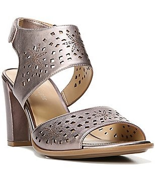 Naturalizer Zinna Leather Laser Cutout Block Heel Dress Sandals