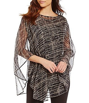 Eileen Fisher Bateau Neck Streaky Plaid Crinkle Silk Poncho