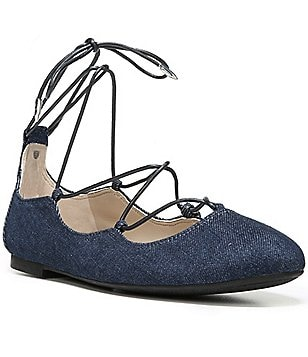 Sam Edelman Flynt Chambray Fabric Lace-Up Ghillie Flats