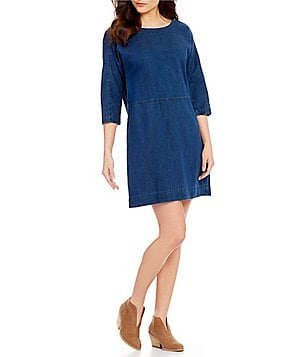 Eileen Fisher Scoop Neck 3/4 Sleeve Denim Tunic Dress