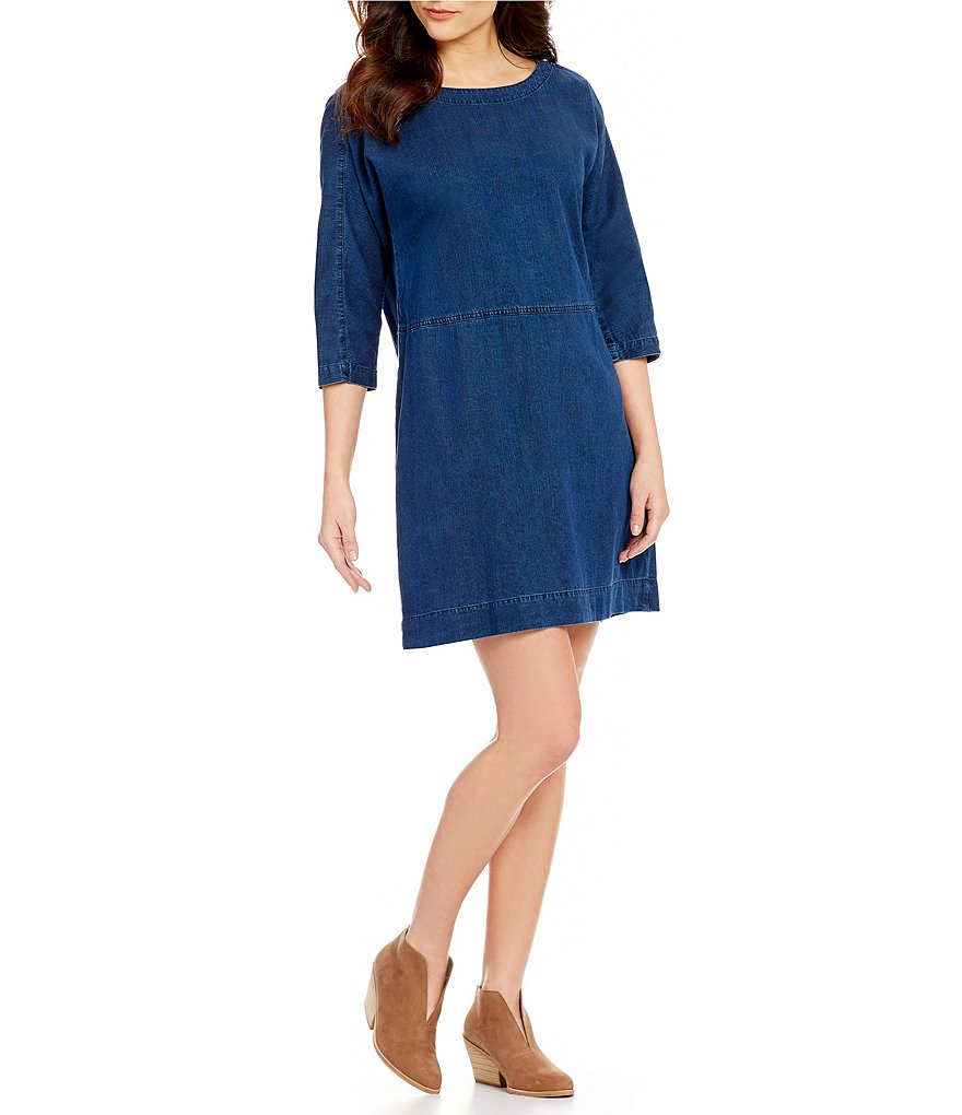 Eileen Fisher Scoop Neck 3/4 Sleeve Denim Dress