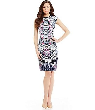 Antonio Melani Crocker Crew Neck Cap Sleeve Printed Crepe Sheath Dress
