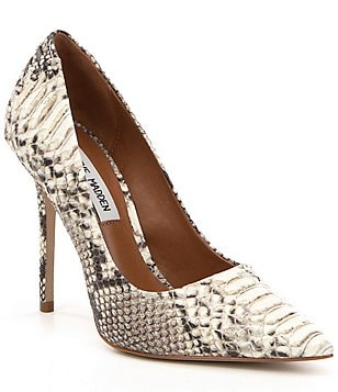 Steve Madden Paiton Snake Print Pointed Toe Slip On Stiletto Pumps