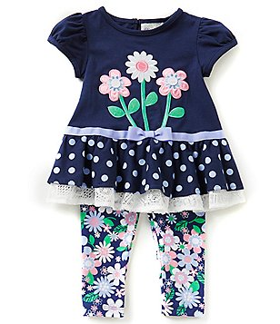 Rare Editions Little Girls 2T-6X Dotted Ruffle Top and Floral Leggings Set