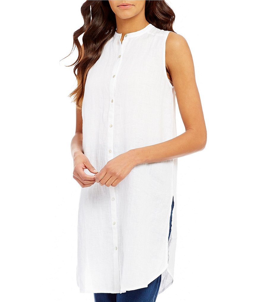 Eileen Fisher Mandarin Collar Sleeveless Long Shirt