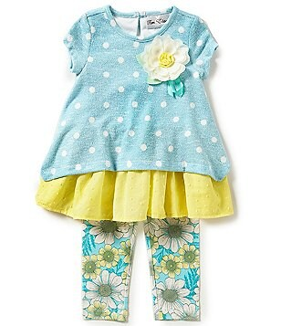 Rare Editions Little Girls 2T-6X Dotted Ruffle Top & Floral Leggings Set