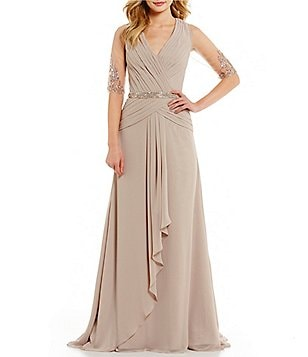 MGNY Madeline Gardner New York Beaded Lace Illusion Sleeve Gown