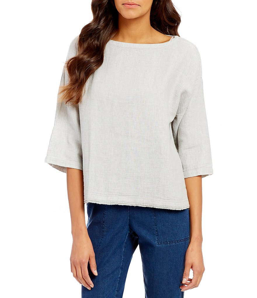 Eileen Fisher Bateau Neck 3/4 Sleeve Linen Box Top