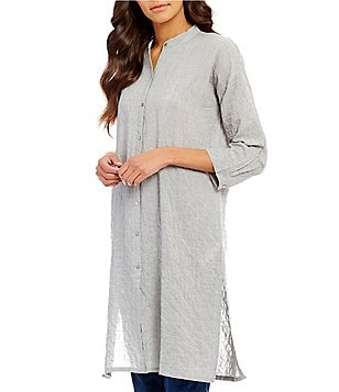Eileen Fisher Mandarin Collar 3/4 Sleeve Long Tunic Shirt