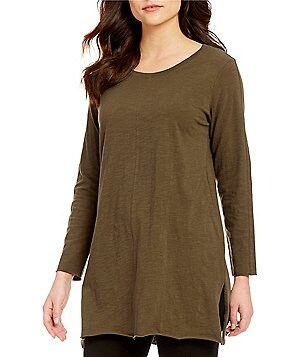 Eileen Fisher Jewel Neck Bracelet Sleeve Side Vent Solid Tunic