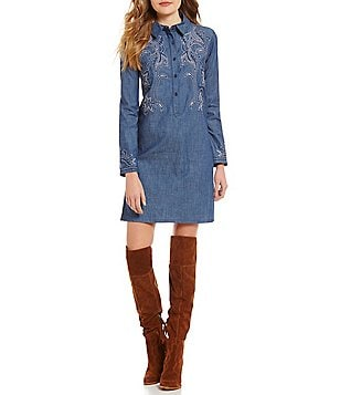 Chelsea & Violet Chambray Embroidered Shirt Dress