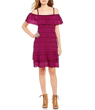 Chelsea & Violet Off-The-Shoulder Ruffled Stretch Lace Dress
