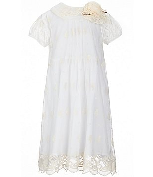 Laura Ashley London Little Girls 2T-6X Floral-Appliqué Lace Overlay Dress