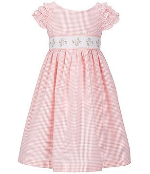 Laura Ashley London Little Girls 2T-6X Checked Flutter-Sleeve Dress