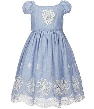 Laura Ashley London Little Girls 2T-6X Embroidered Heart Dress