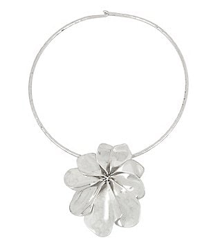 Robert Lee Morris Soho Sculptural Flower Pendant Wire Collar Necklace