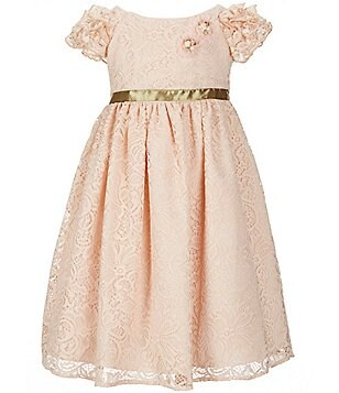 Laura Ashley London Little Girls 2T-8 Lace Ruffle-Sleeve Dress