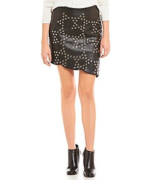 Chelsea & Violet Faux-Leather Asymmetrical Hem Star Pencil Skirt