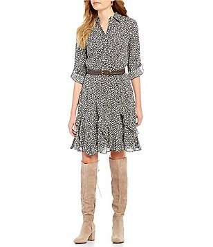 Chelsea & Violet Point Collar Roll-Tab Sleeve Printed Ruffle Dress