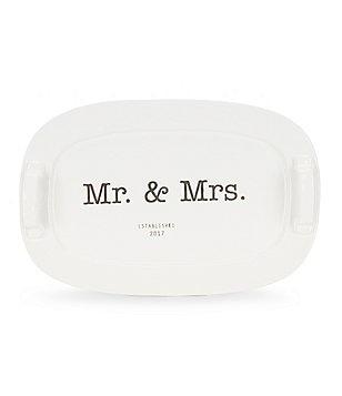 Mud Pie Wedding Collection 2017 Mr. & Mrs. Ceramic Handled Platter