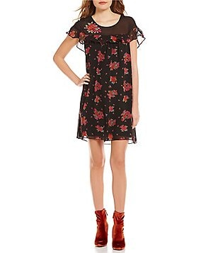Chelsea & Violet Print Mesh Embroidered Ruffle Dress