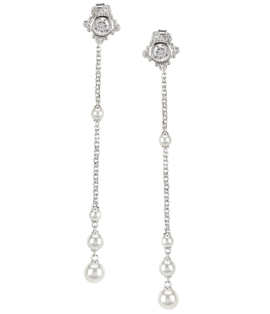 Nadri Joan Cubic Zirconia & Faux-Pearl Linear Drop Earrings