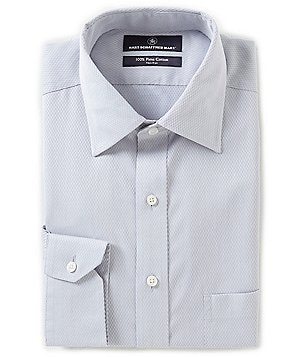 Hart Schaffner Marx Non-Iron Fitted Classic-Fit Spread-Collar Textured Solid Dress Shirt