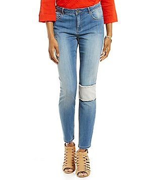 Tru Luxe Jeans Patched Ankle Skinny Jean