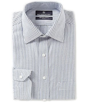 Hart Schaffner Marx Non-Iron Fitted Classic-Fit Spread-Collar Stripe Dress Shirt